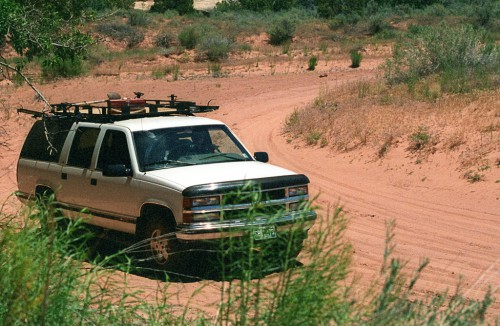 Our old Suburban on the Salt Creek Road