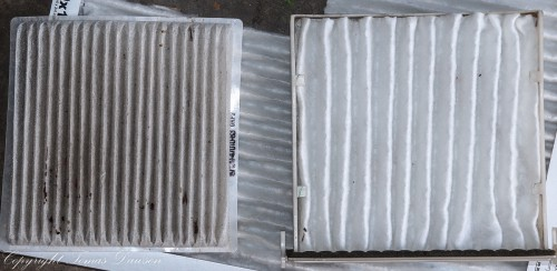 New cabin filter cut from furnace filter